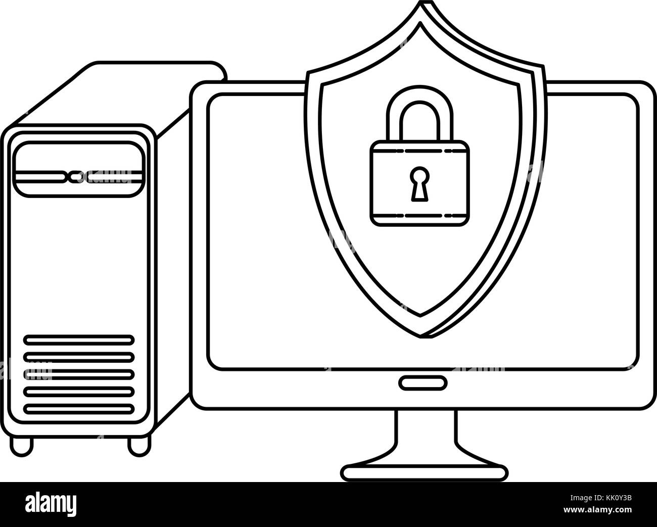 desktop computer with shield - Stock Image