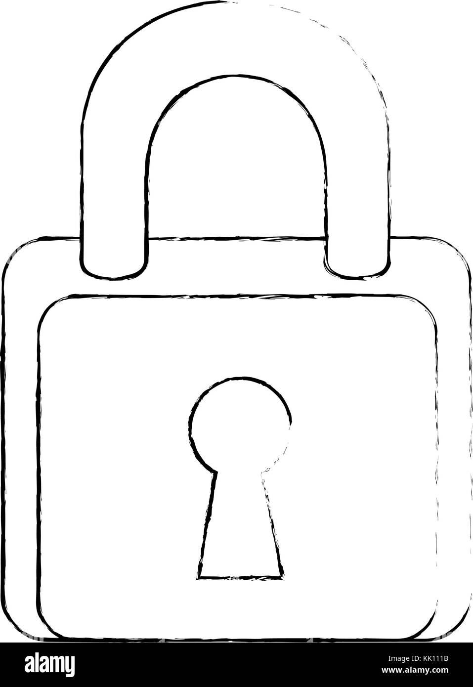 padlock security isolated icon - Stock Image