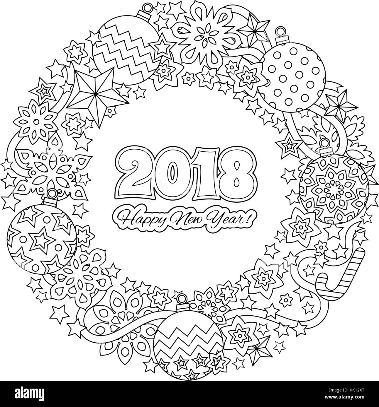 Congratulation Card Happy New Year 2018 Wreath Consisting Of Stock