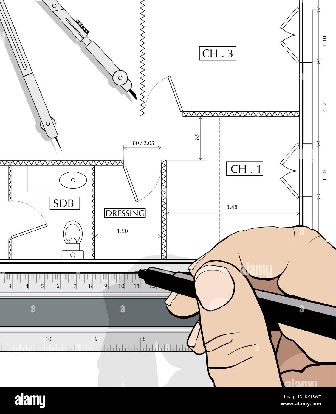 Drawing an house plan with a straight edge and dividers (vector ...