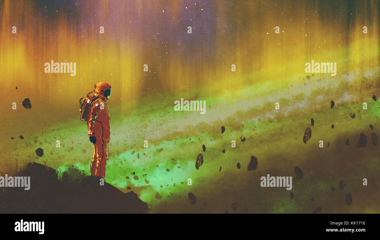 the astronaut standing on a rock in starry outer space with colorful light, digital art style, illustration painting - Stock Image