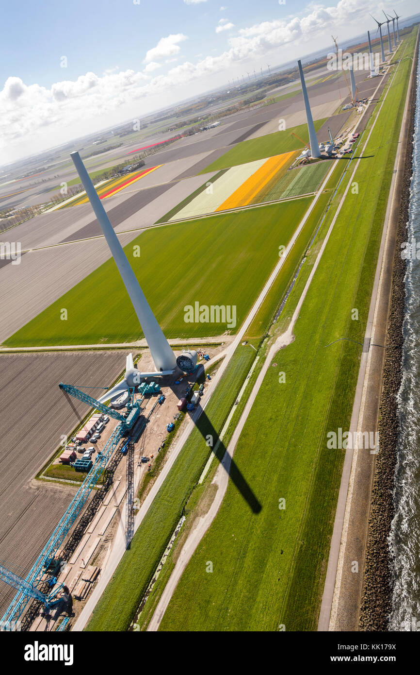Aerial view of wind turbines by the sea, North Holland, Netherlands Stock Photo