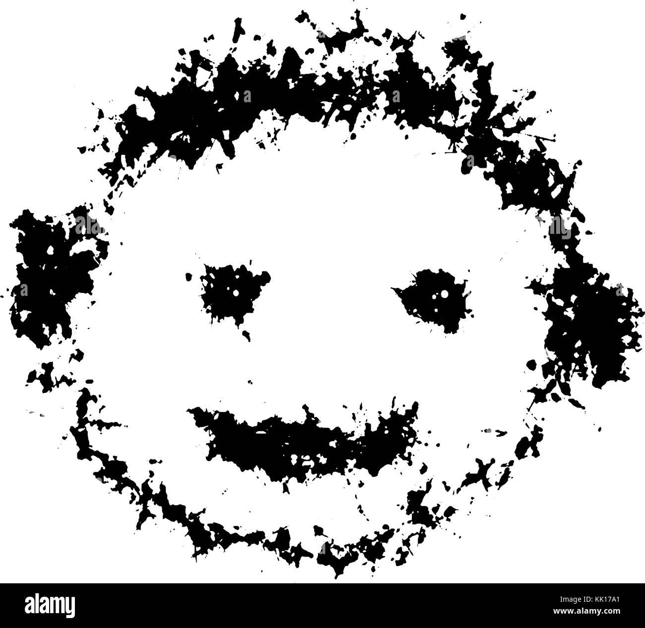Editable vector illustration of a grunge smiley face - Stock Vector