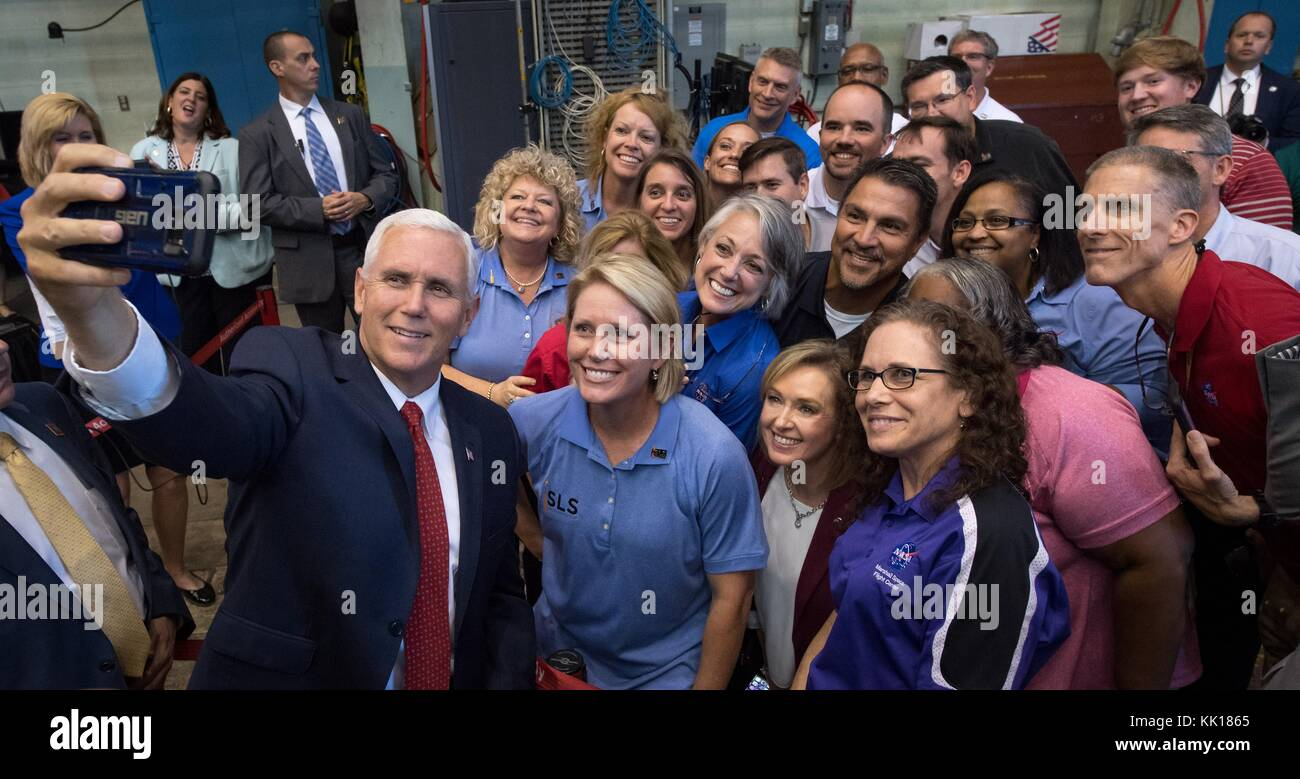 U.S. Vice President Mike Pence takes a selfie photo with NASA employees during a tour of the Marshall Space Flight - Stock Image