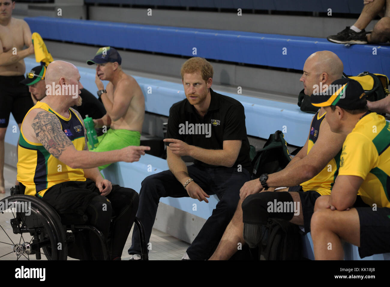 United Kingdom Prince Harry of Wales meets with athletes competing in the Invictus Games at the Toronto Pan Am Sports - Stock Image