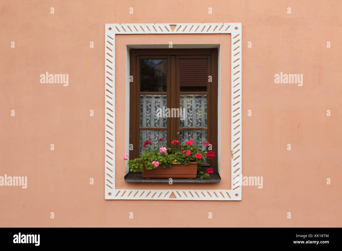 Window of one of he houses in Rural Baroque style in the historical village of Holašovice in South Bohemia, Czech - Stock Image