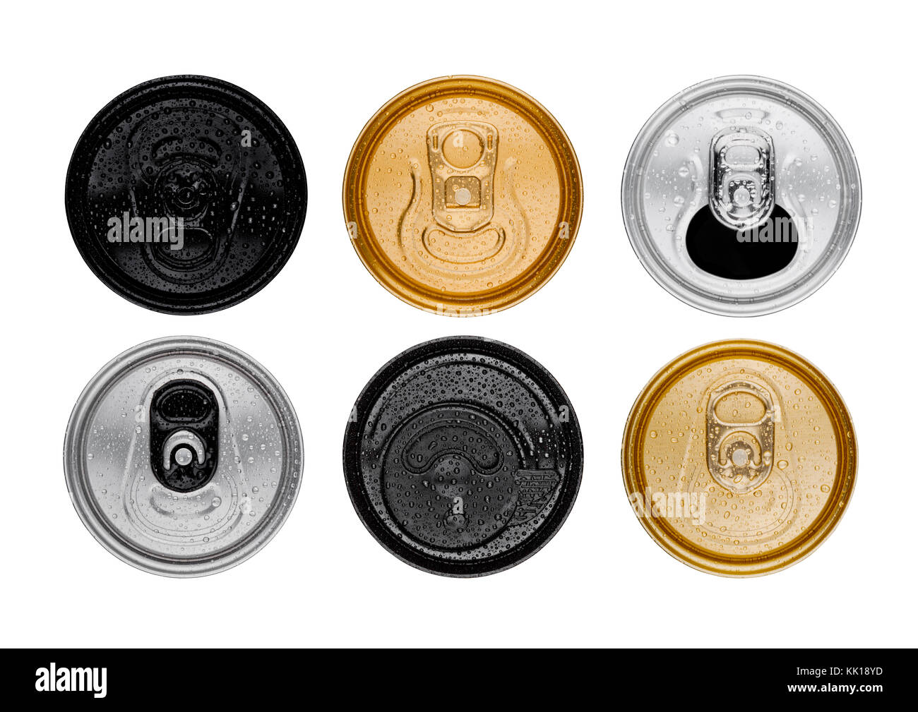 Aluminium soda drink tins top view isolated on white - Stock Image