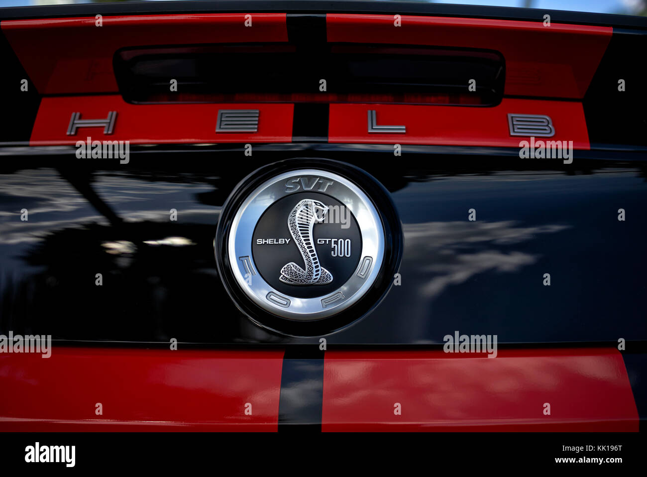 Badge and iconic insignia detail of a Ford Mustang Shelby GT500 American muscle car. - Stock Image