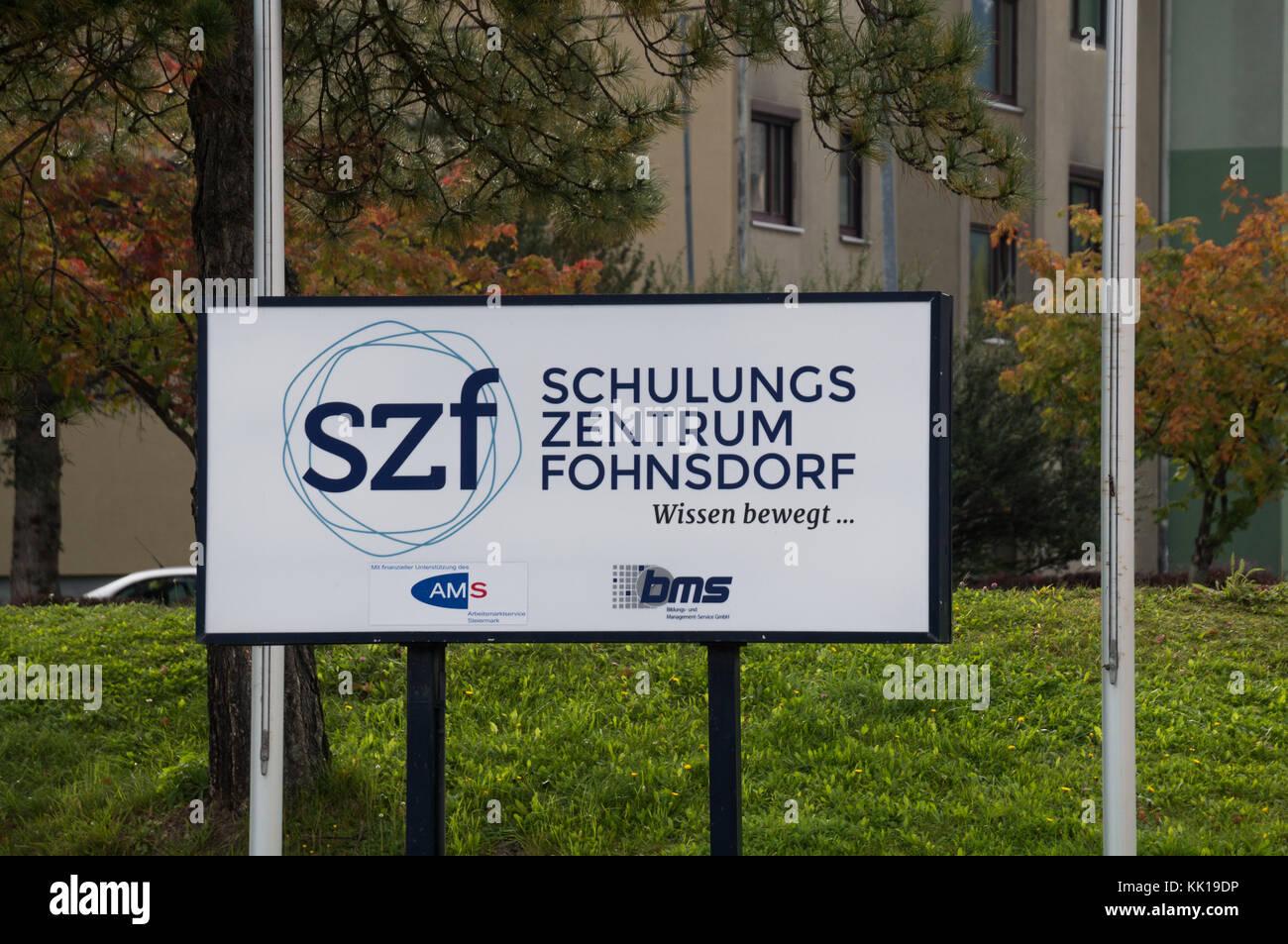 Fohnsdorf, Austria - 29.09.2017: Board outside the Schulungszentrum Fohnsdorf - Stock Image
