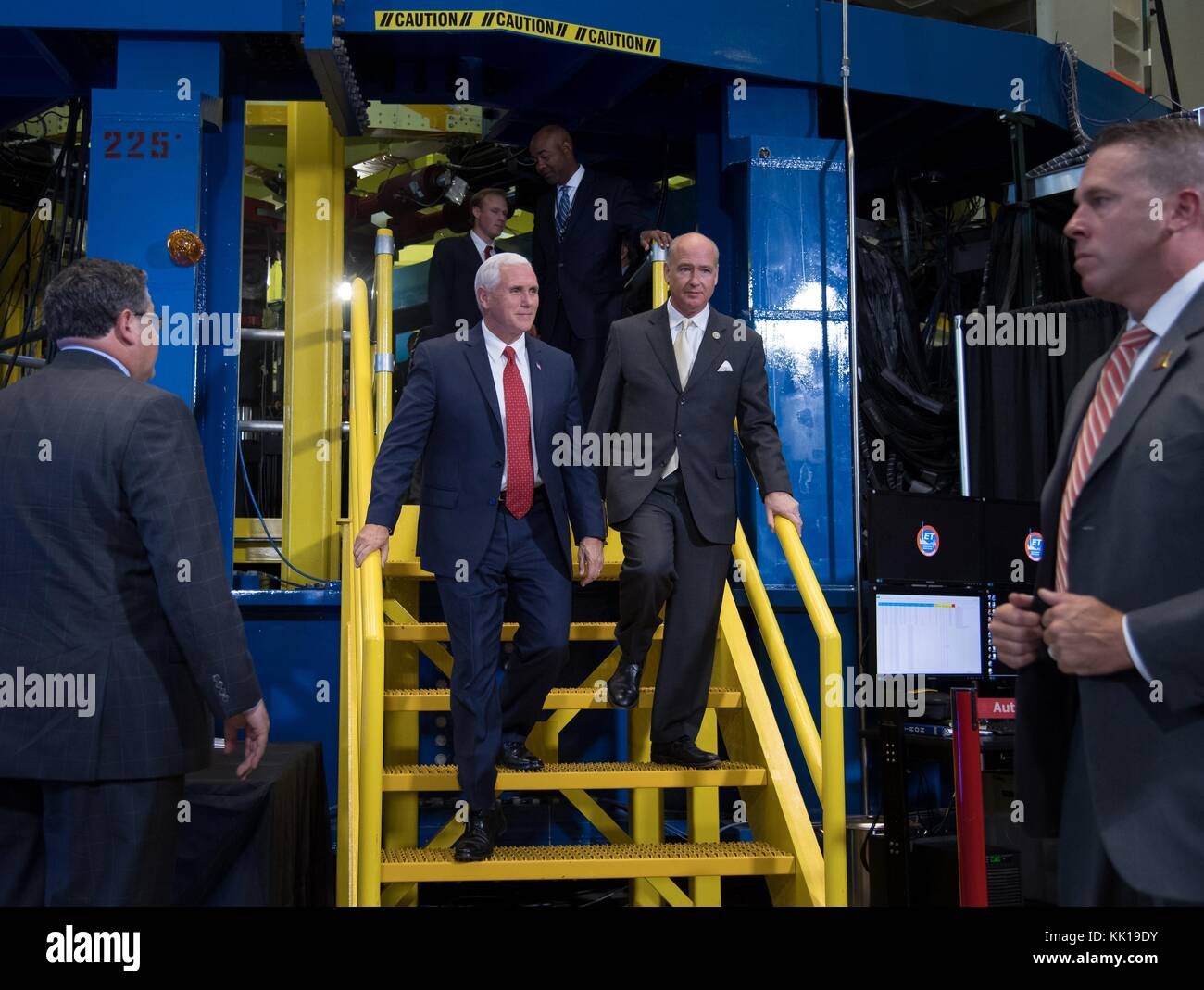 U.S. Vice President Mike Pence (left) and U.S. Alabama Representative Robert Aderholt tour the Space Launch System - Stock Image