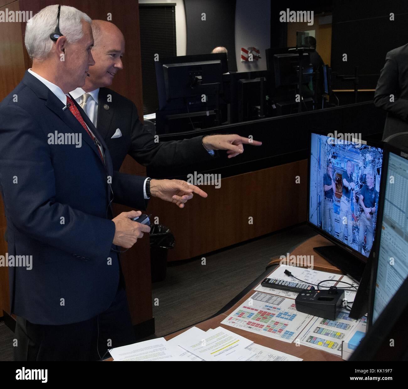 U.S. Vice President Mike Pence (left) and U.S. Alabama Representative Robert Aderholt speak to NASA International - Stock Image