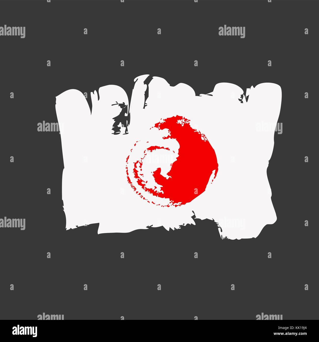 Japan flag painted by brush hand paints. Art flag. Watercolor Japan. Japanese art flag. Stock Vector