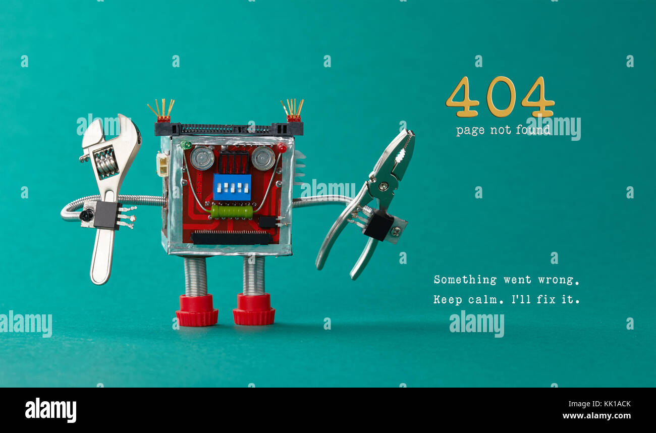 Page not found template for website. Robot toy repairman with pliers adjustable wrench, 404 error warning message - Stock Image