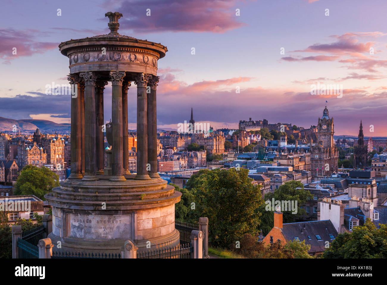 Edinburgh Scotland Edinburgh Dugald Stewart Monument, city centre and Skyline of Edinburgh, Calton Hill, Edinburgh, Midlothian, Scotland, UK, GB, Stock Photo