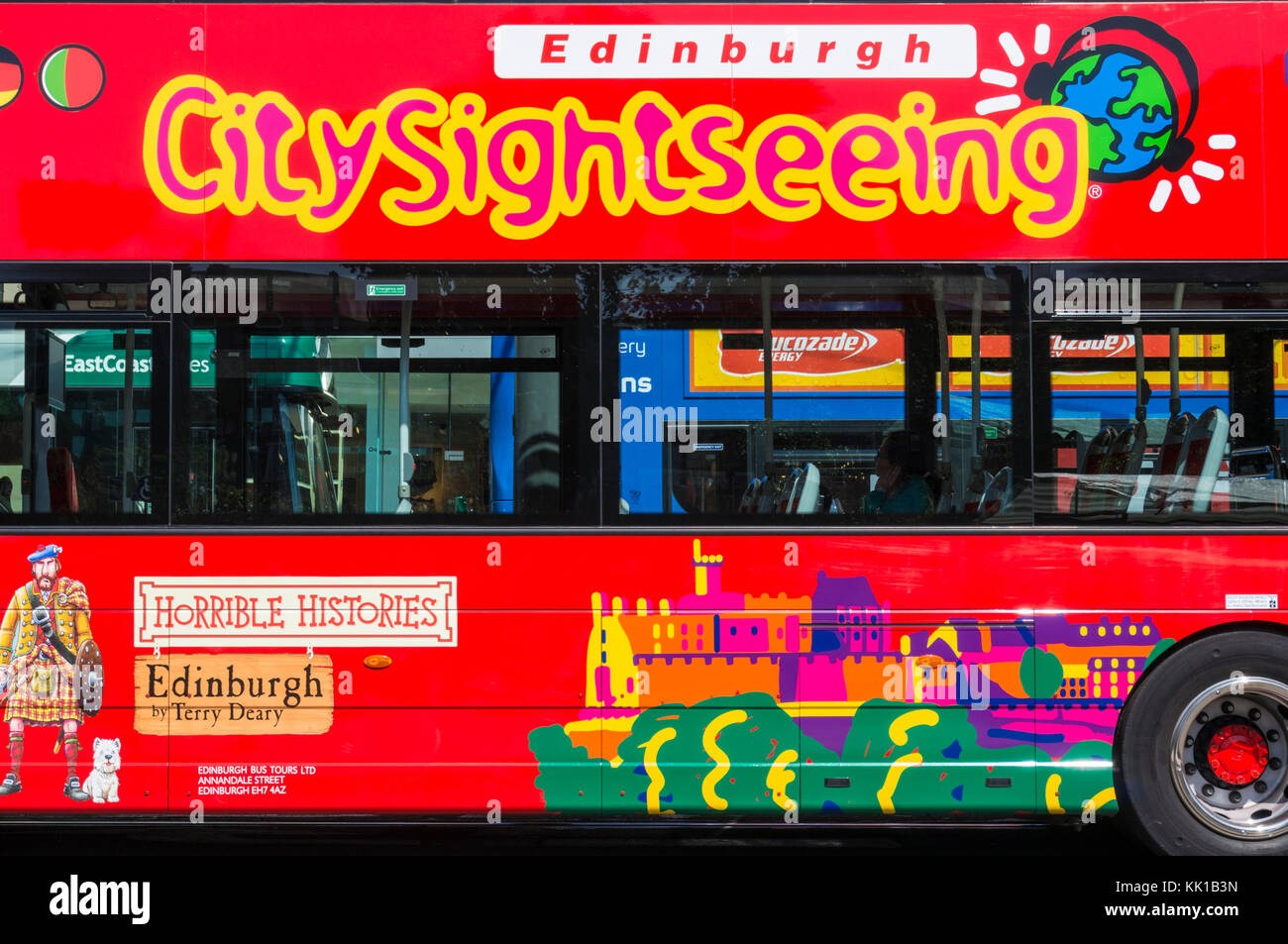 Edinburgh scotland edinburgh citysightseeing bus sightseeing bus tour in a red bus edinburgh scotland uk gb europe - Stock Image