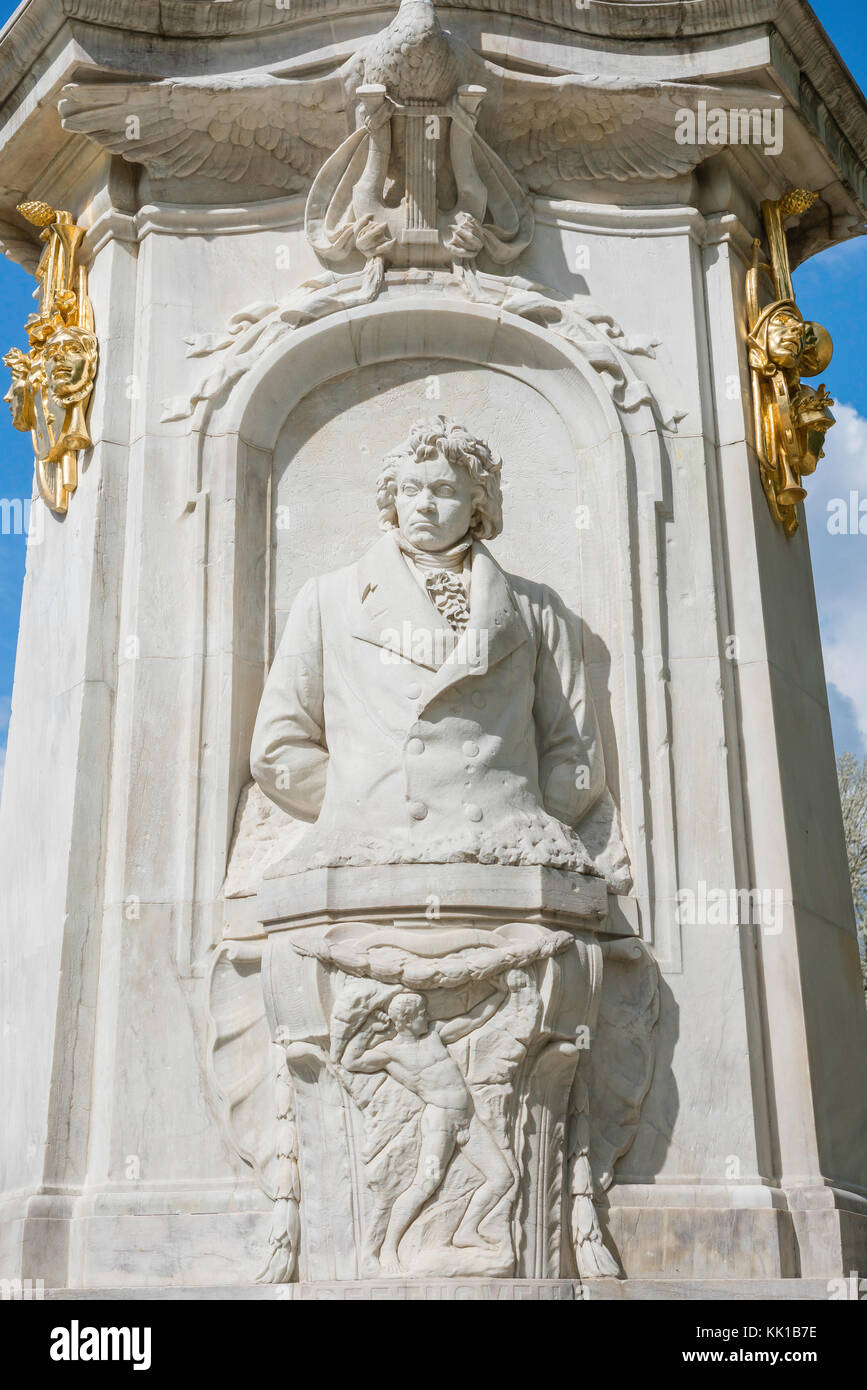 Statue of Beethoven on the Beethoven-Haydn-Mozart monument (denkmal) in the Tiergarten park, center of Berlin, Germany. - Stock Image