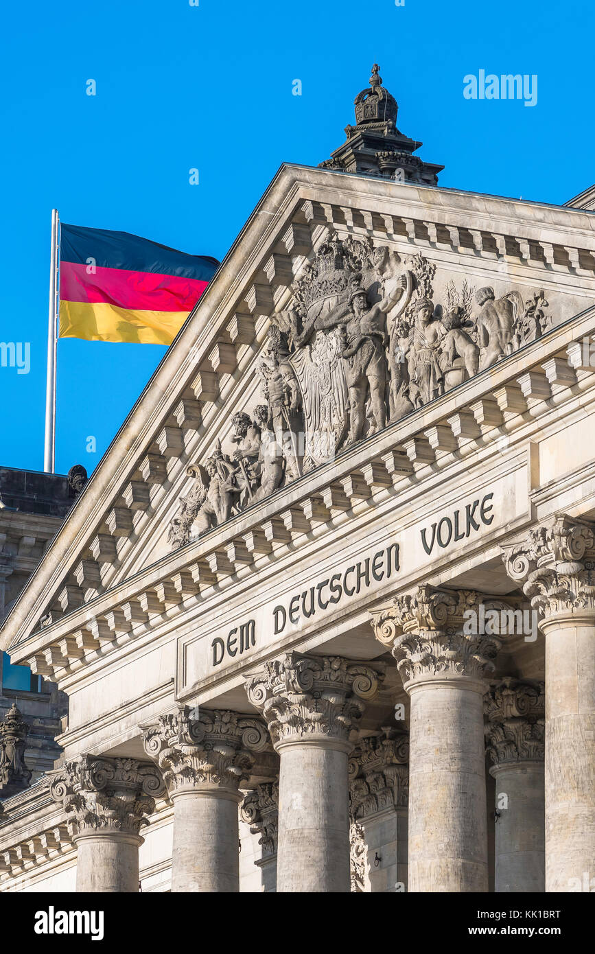 Berlin Parliament Building, detail of the pediment and inscription on the grand portico of the Reichstag building - Stock Image