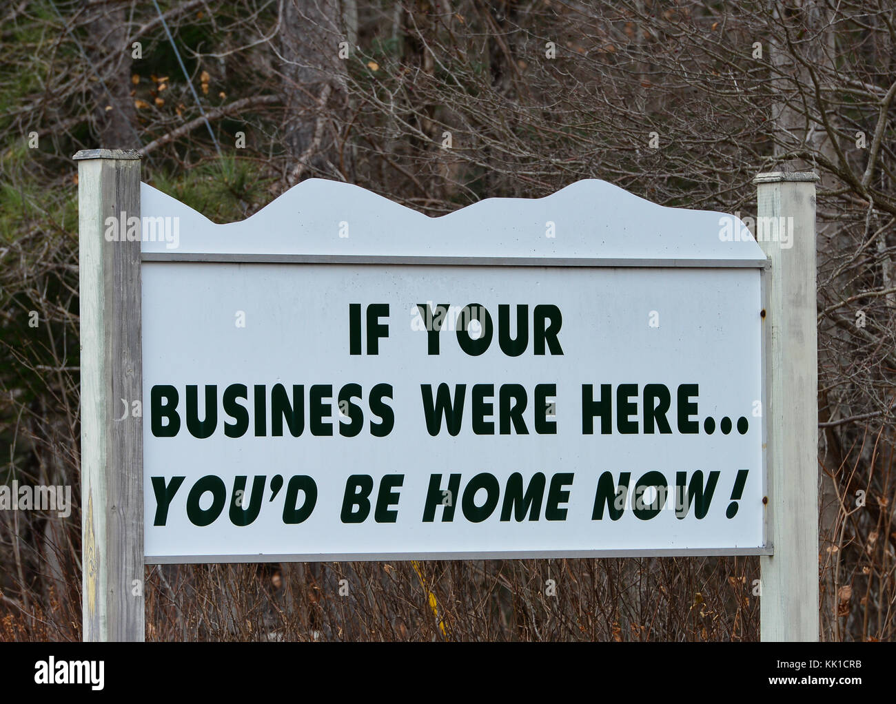 Sign in tourist town, Lake Pleasant, in the Adirondack Mountains, NY suggesting moving your business to the area. - Stock Image