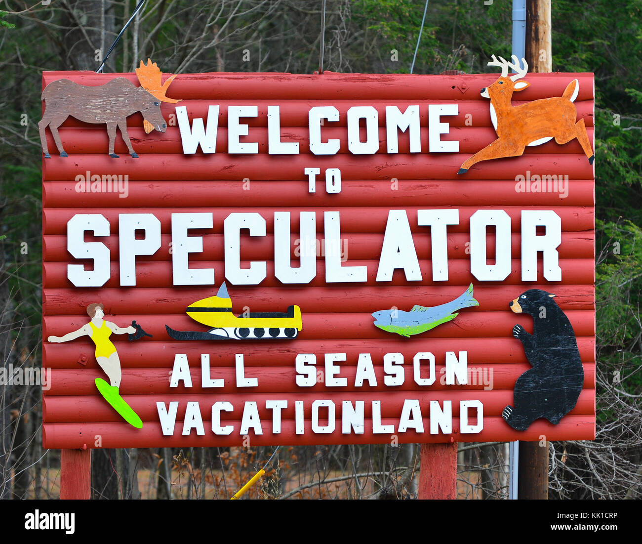 Welcome to Speculator, NY in the Adirondack Mountains. - Stock Image