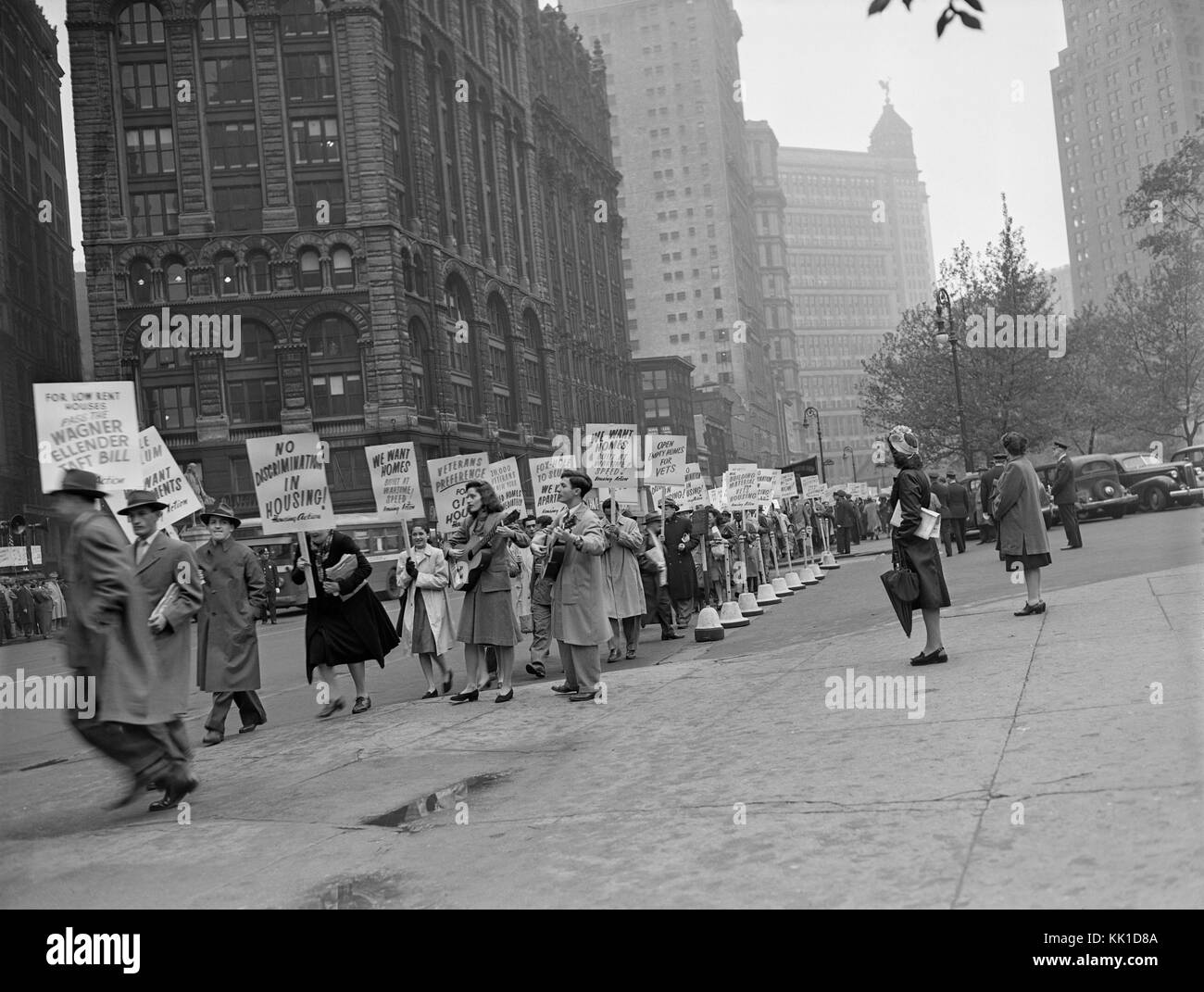 A protest outside City Hall in New York in 1946 by World War II veterans protesting about housing. Immediately post - Stock Image