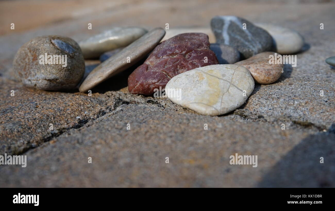 collection of stones , pebbles used for home decorations - Stock Image