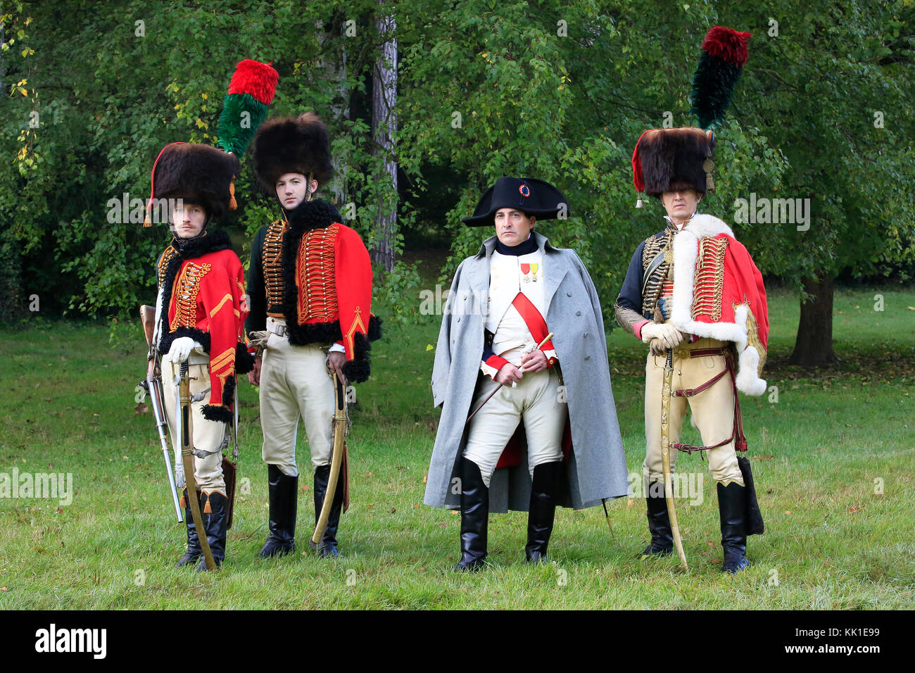Napoleon Bonaparte, Emperor of the French (1769-1821) with the Chasseurs à cheval of the Imperial Guard at - Stock Image