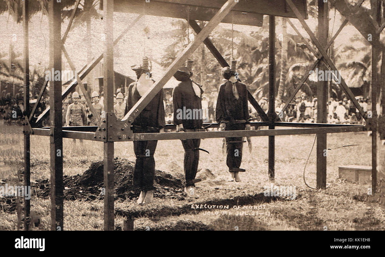 Three Moros rebels hung in Jolo on July 23, 1911 - Stock Image