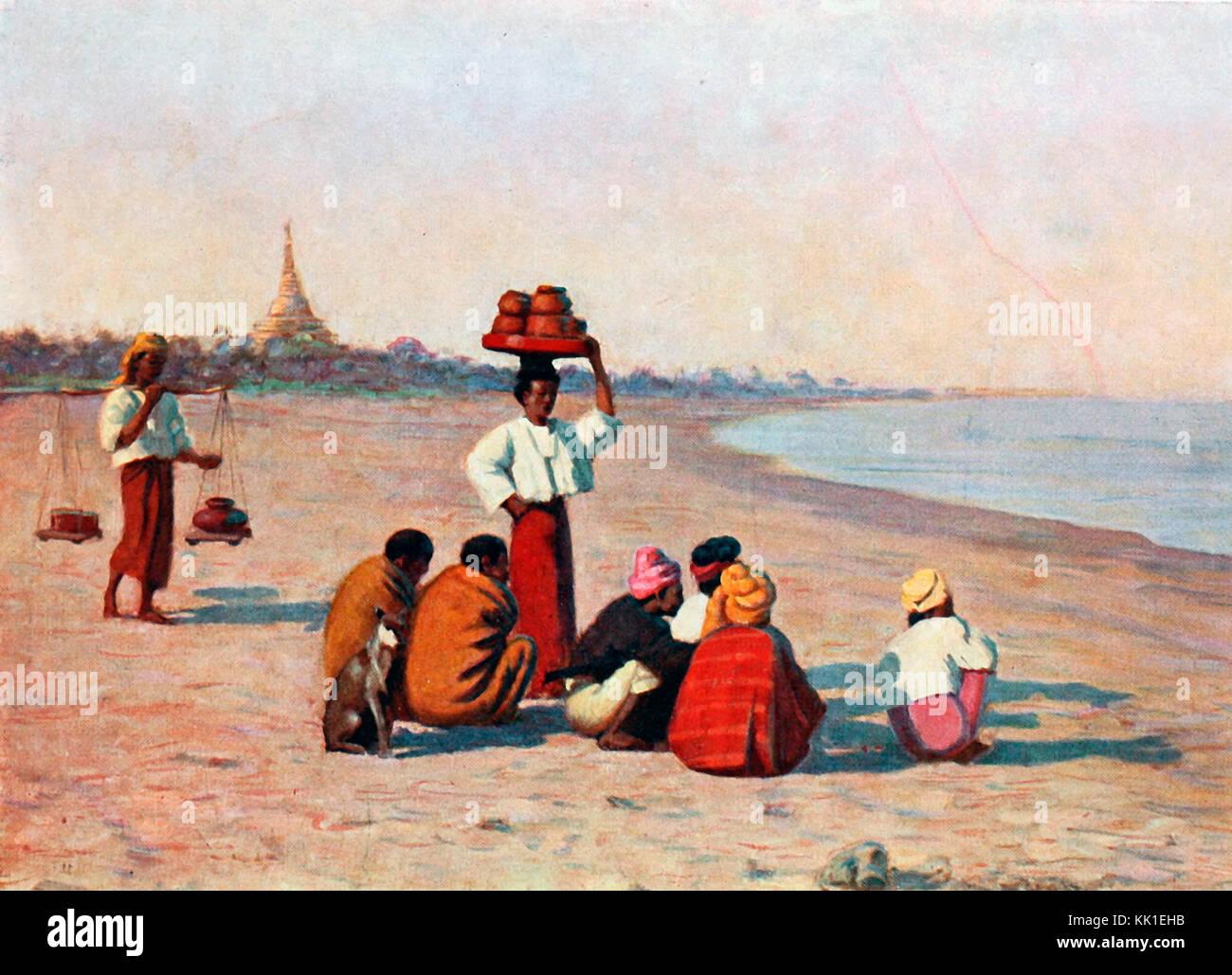 Waiting for the steamer, Burma, circa 1875 - Stock Image