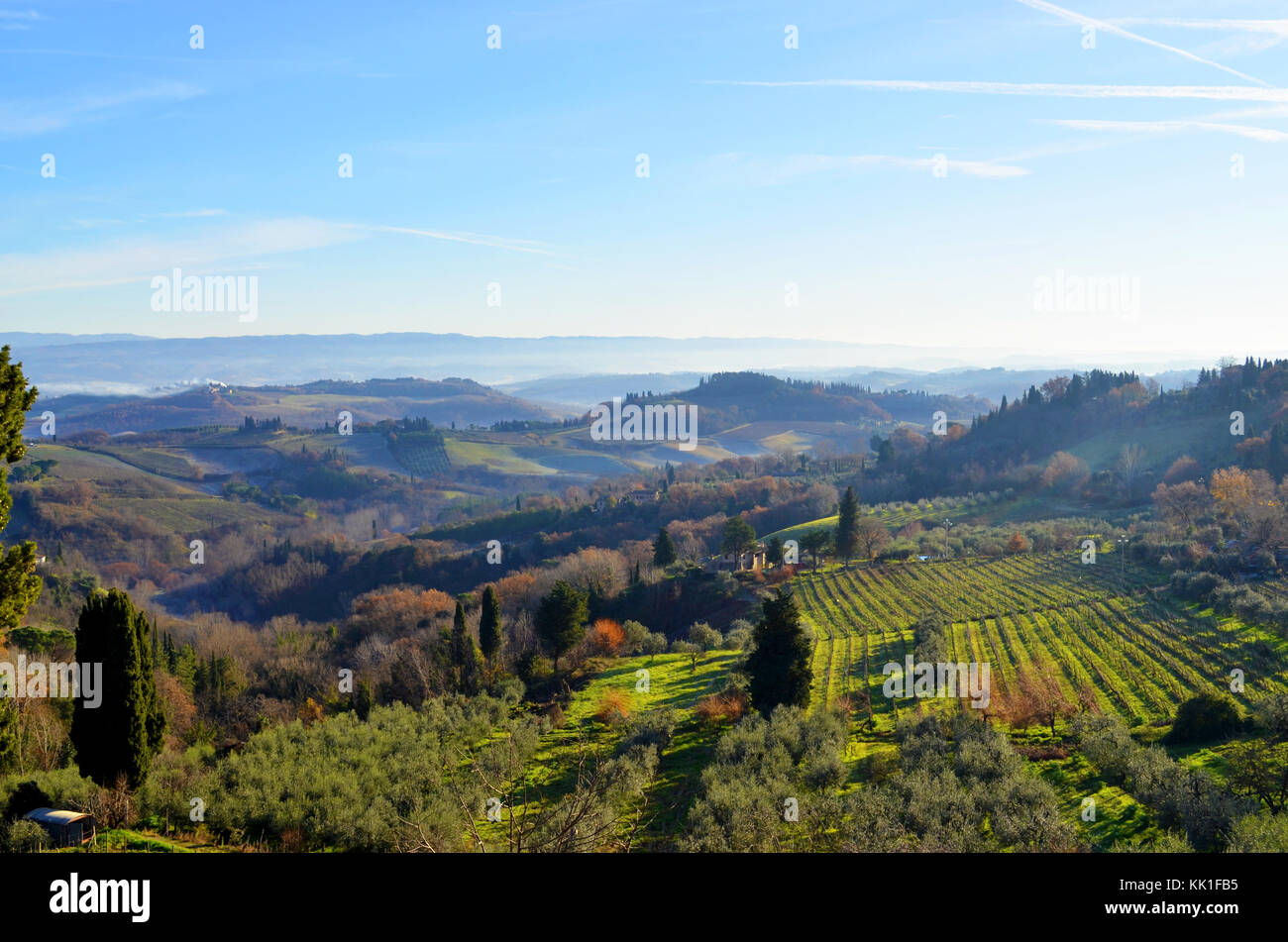 Landscape view of San Gimignano in the province of Siena, Tuscany.  Countryside of the medieval hill town southwest - Stock Image