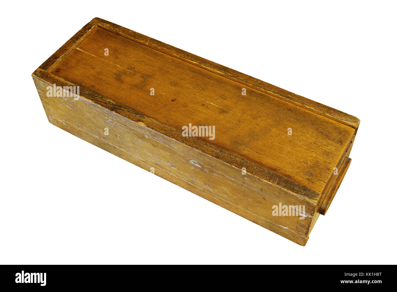 vintage weathered rummy wooden box isolated over white background - Stock Image
