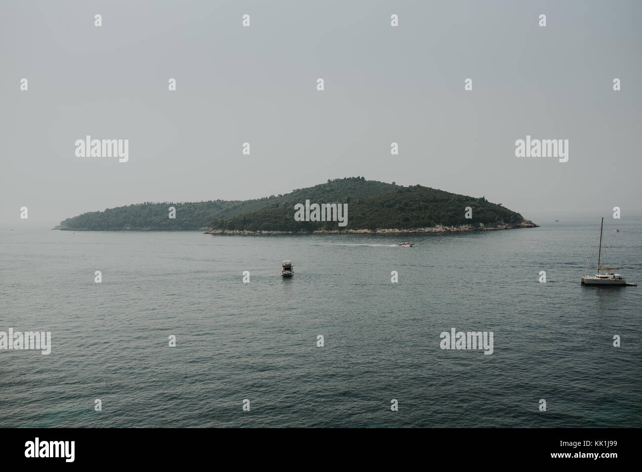 Island of Lokrum in front of Dubrovnik, Croatia - Stock Image