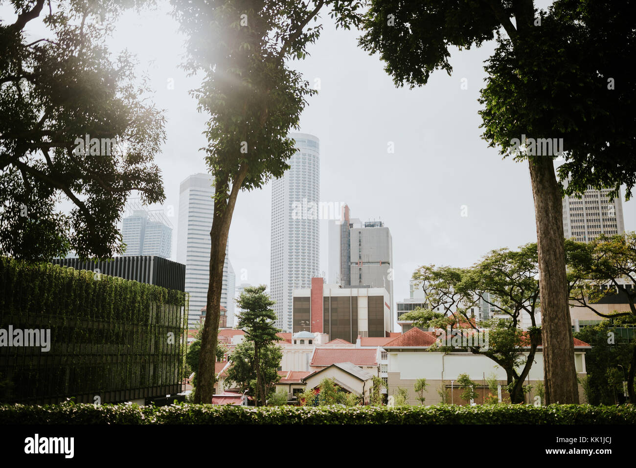 Singapore cityscape. Different architecture styles from colonial to modern. - Stock Image