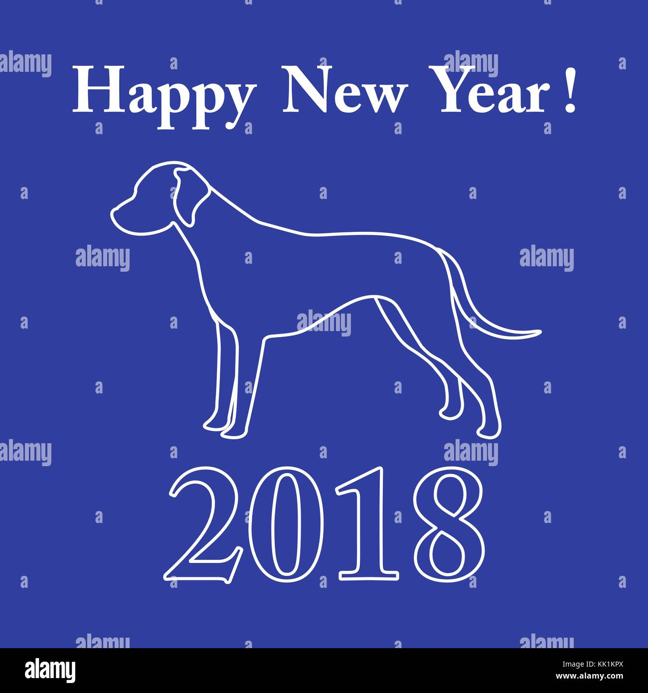 Dalmatian silhouette and inscription happy new year. Design element for postcard, banner, poster or print. - Stock Vector
