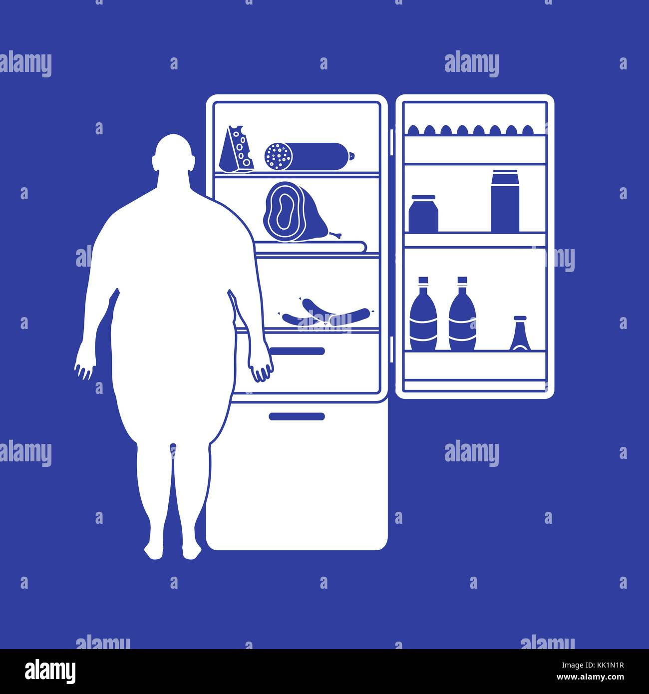Fat man stands at the fridge full of food. Harmful eating habits. Design for banner and print. - Stock Vector
