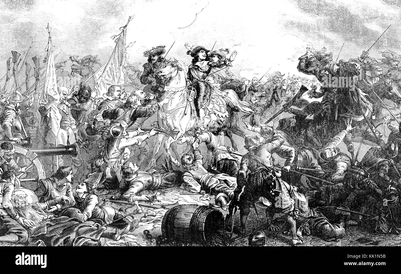 The Battle of Rocroi of 19 May 1643, Franco-Spanish War Stock Photo