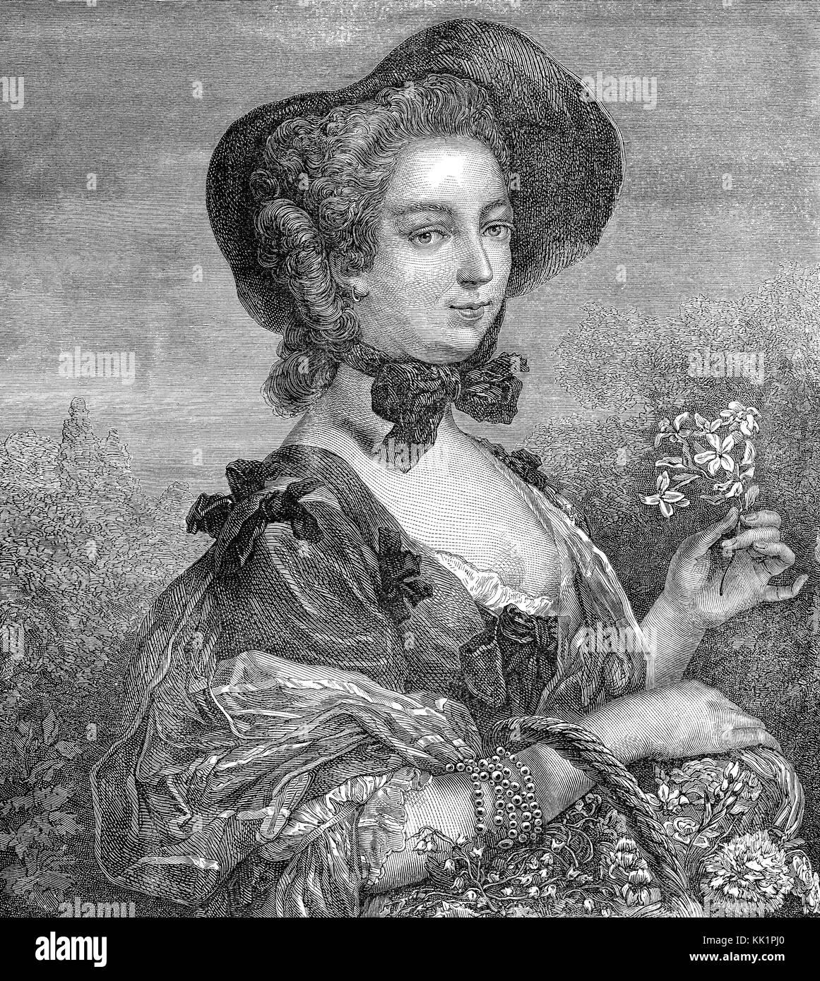 Jeanne Antoinette Poisson, Marquise de Pompadour, Madame de Pompadour, 1721-1764, chief mistress of Louis XV - Stock Image