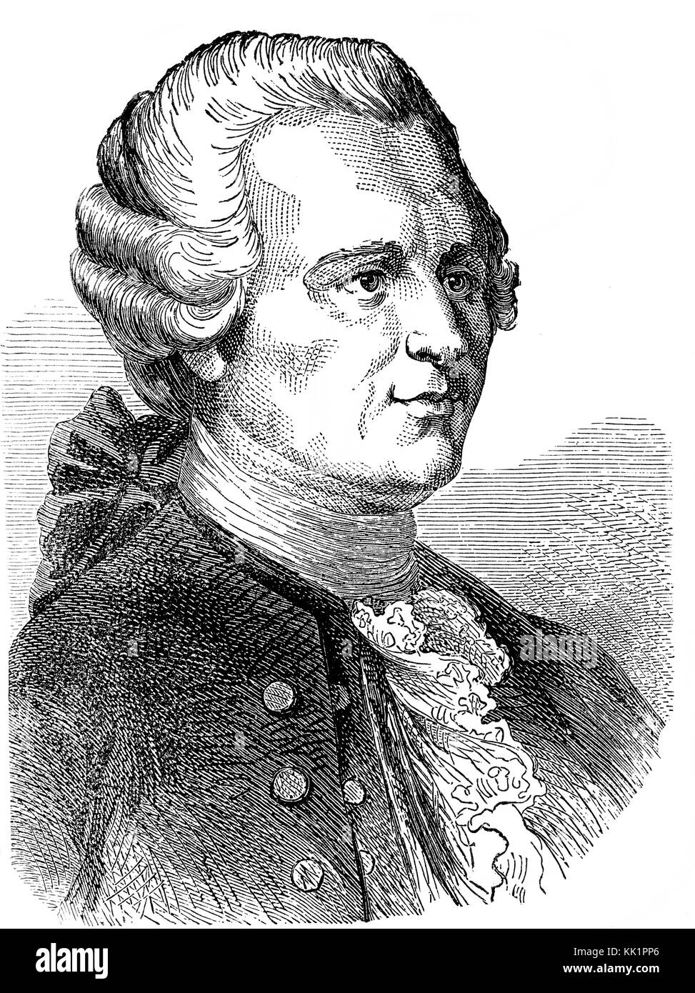 Jean-Baptiste le Rond d'Alembert, 1717-1783, a French mathematician, mechanician, physicist, philosopher - Stock Image