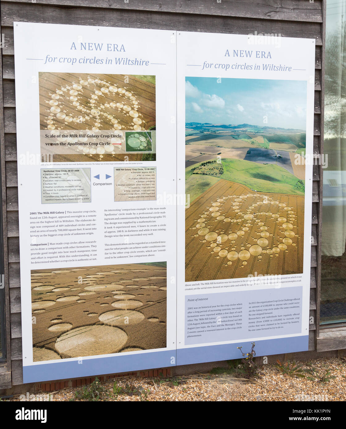 Information board panel about crop circles at the Barge Inn