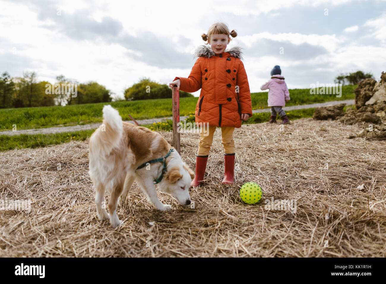 Happy Kids playin with a dog - Stock Image