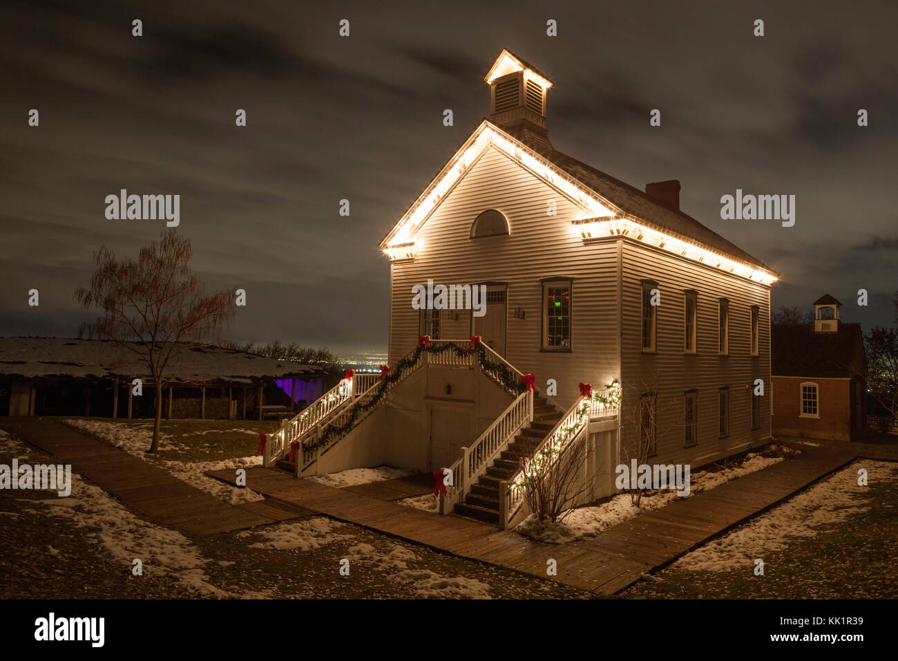 Winter night at This is the Place Heritage Park, Salt Lake City, Utah - Stock Image
