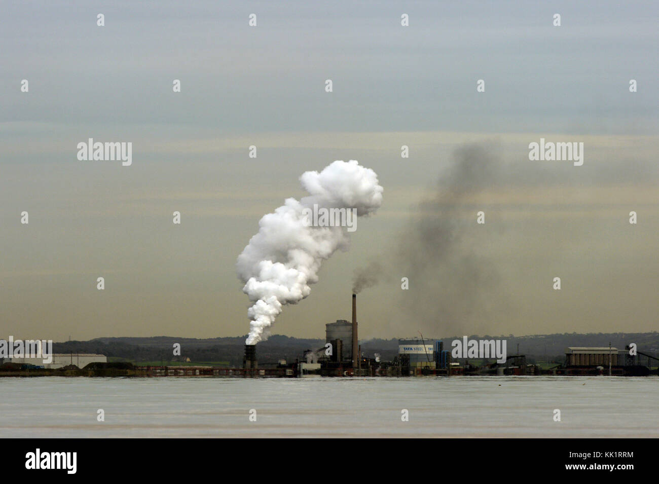 Port Talbot Steel works seen from across Swansea Bay with a telephoto lens Stock Photo