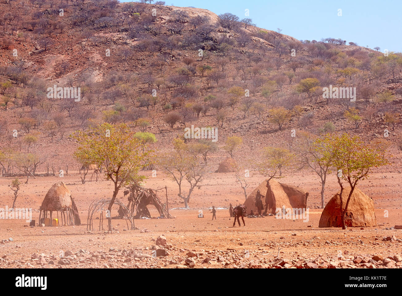 Traditional himba village near Epupa Falls, Kaokoveld, Namibia, Africa - Stock Image
