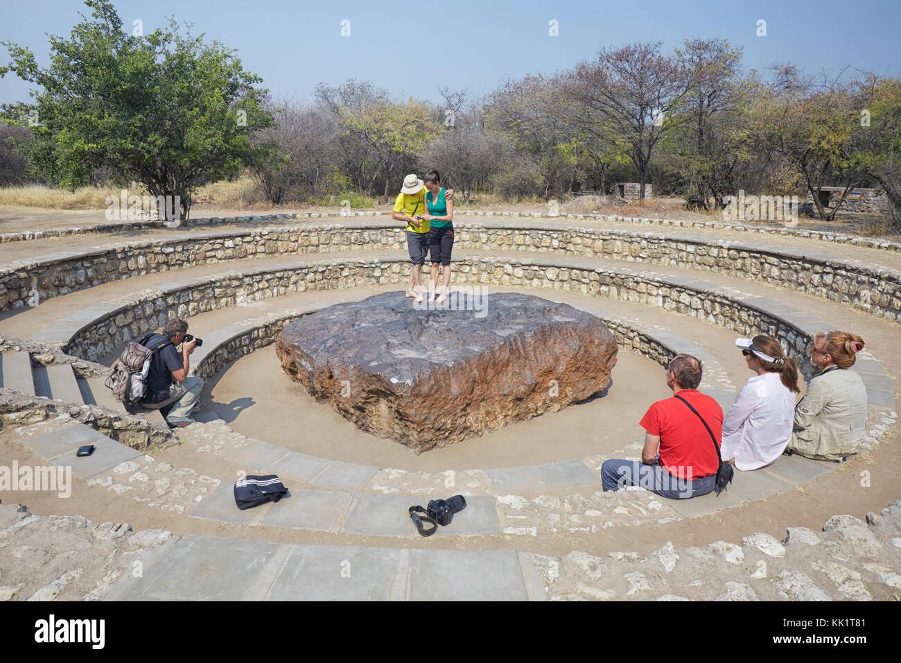 Tourists at Hoba meteorite near Grootfontein, Namibia, Africa - Stock Image