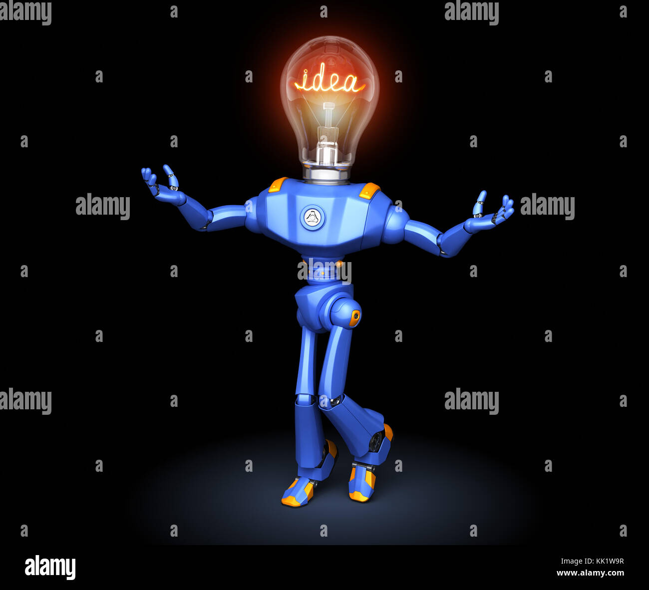 Cute robot character got idea. 3D illustration - Stock Image