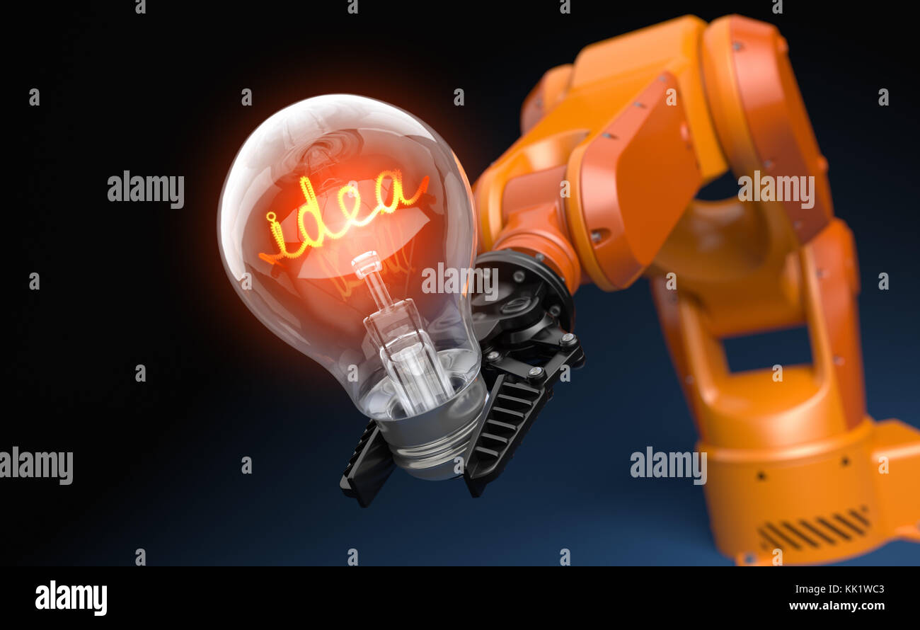 Industrial robot arm holding light bulb. 3D illustration - Stock Image