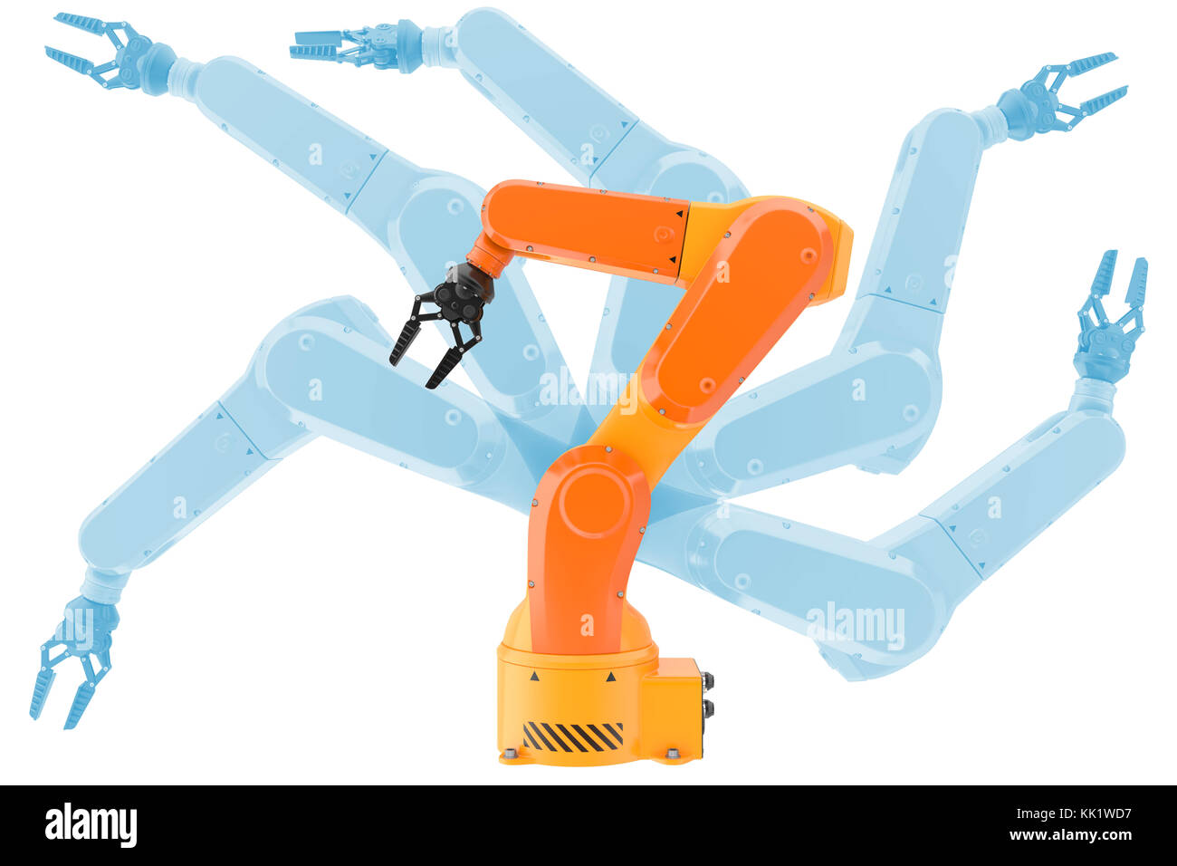 Industrial robot arms possibilities. 3d illustration - Stock Image