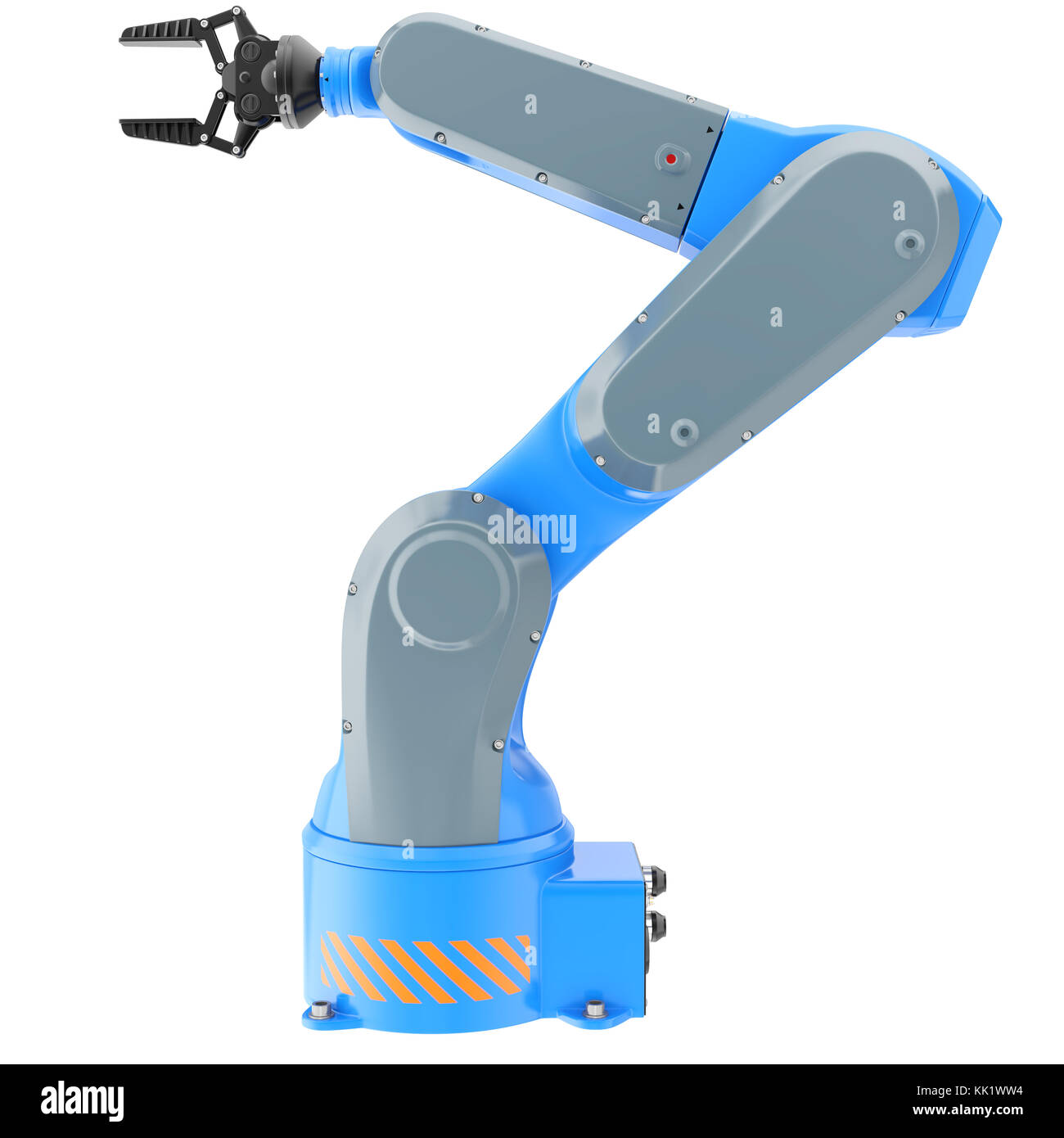 Industrial robot arm isolated on white. 3D illustration - Stock Image