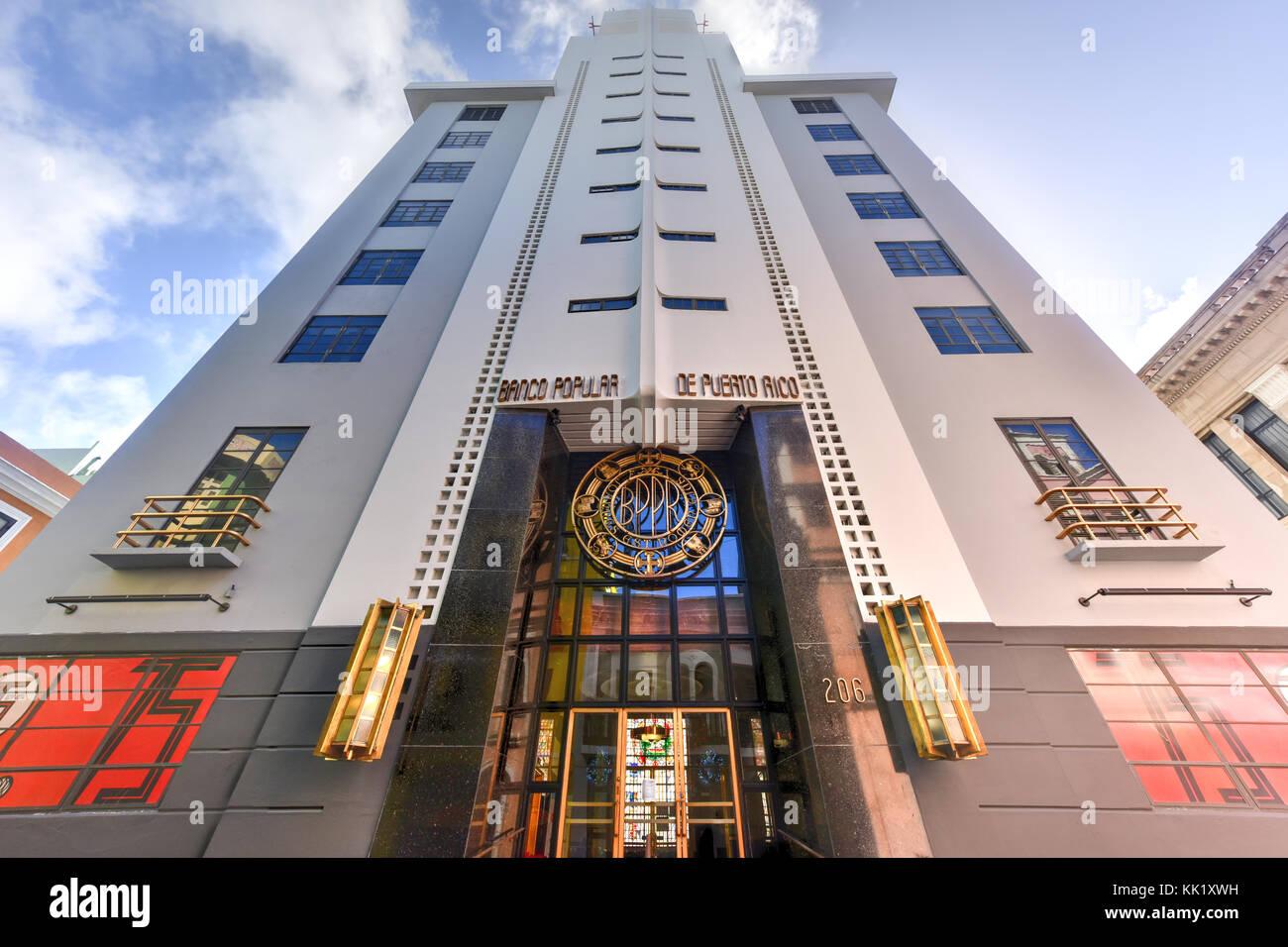 San Juan, Puerto Rico - December 25, 2015: Banco Popular in San Juan, Puerto Rico. The bank in the art deco style - Stock Image