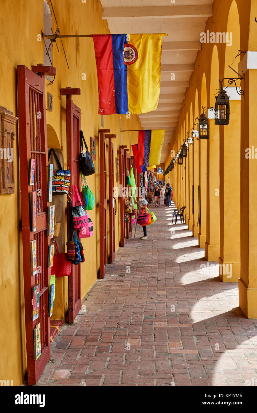 souvenir shops in bastion Las Bovedas, Cartagena de Indias, Colombia, South America - Stock Image