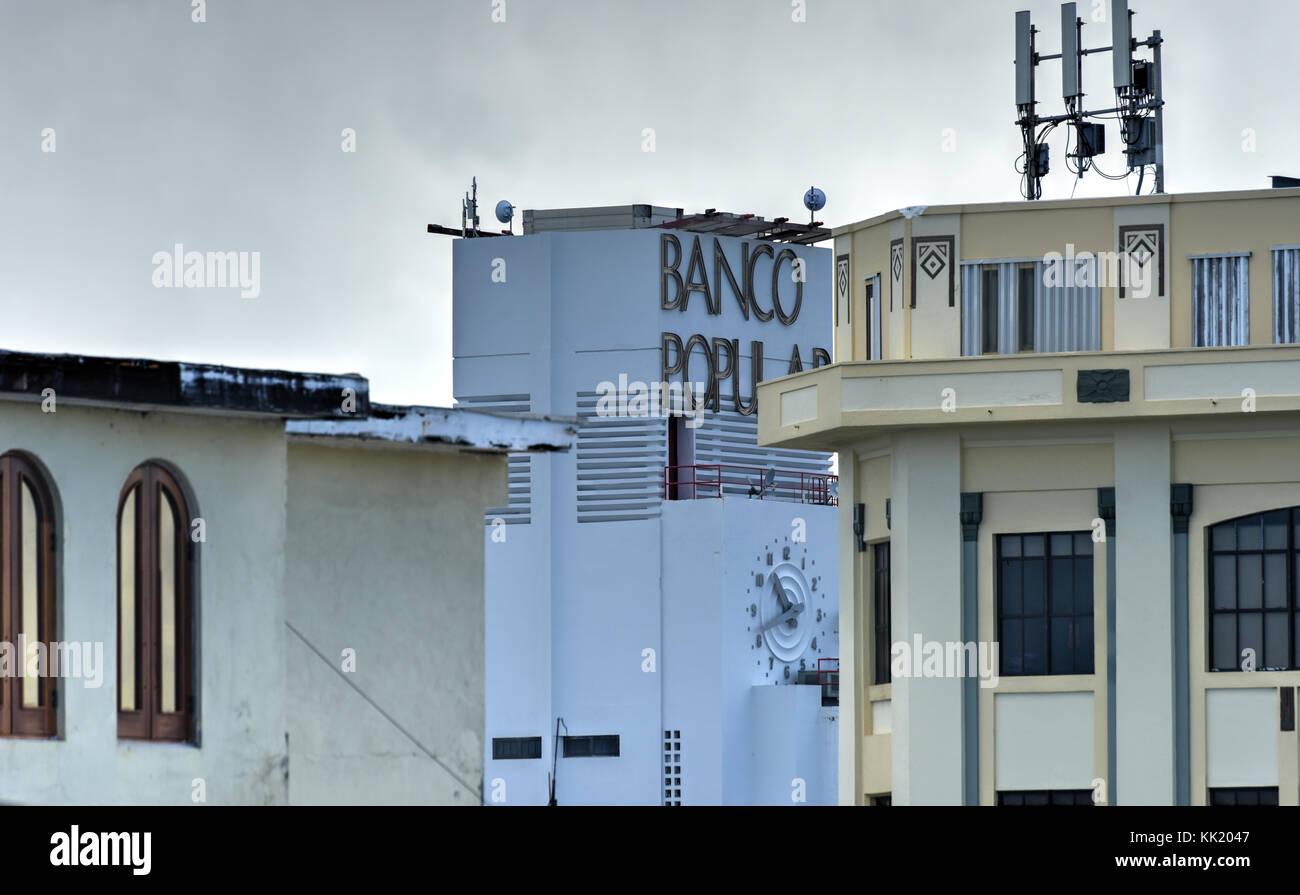 San Juan, Puerto Rico - December 27, 2015: Banco Popular in San Juan, Puerto Rico. The bank in the art deco style - Stock Image